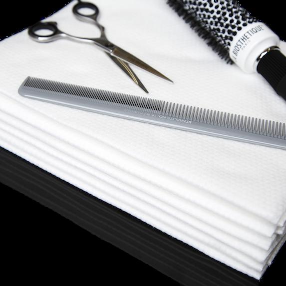 Enki White Embossed Luxury Disposable Hair and Beauty Premium Towel